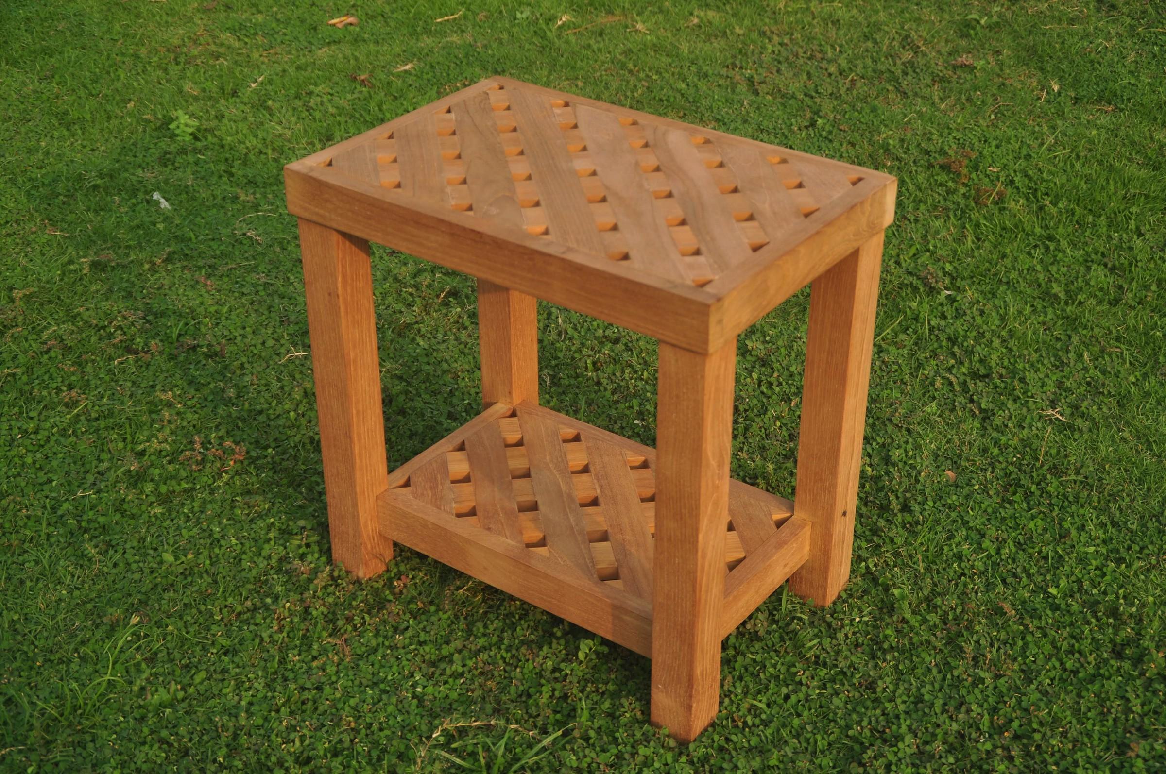 Bunbury Shower Bath Pool Bench W/ Shelf Grade-A Teak Wood Outdoor ...