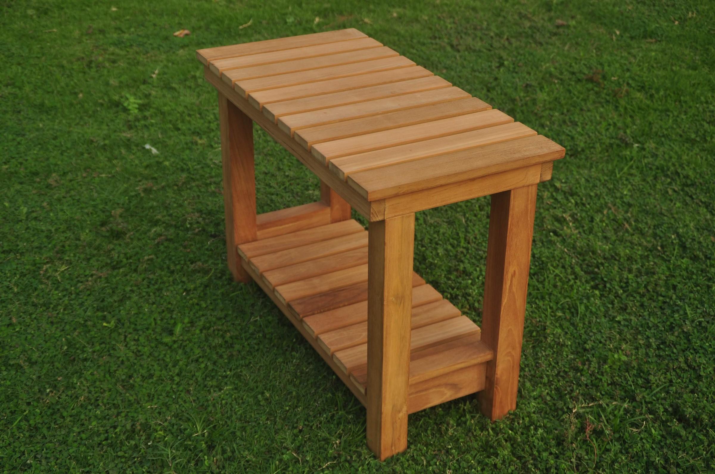 Busselton Large Shower Bath Pool Bench W/ Shelf Grade-A Teak Wood ...
