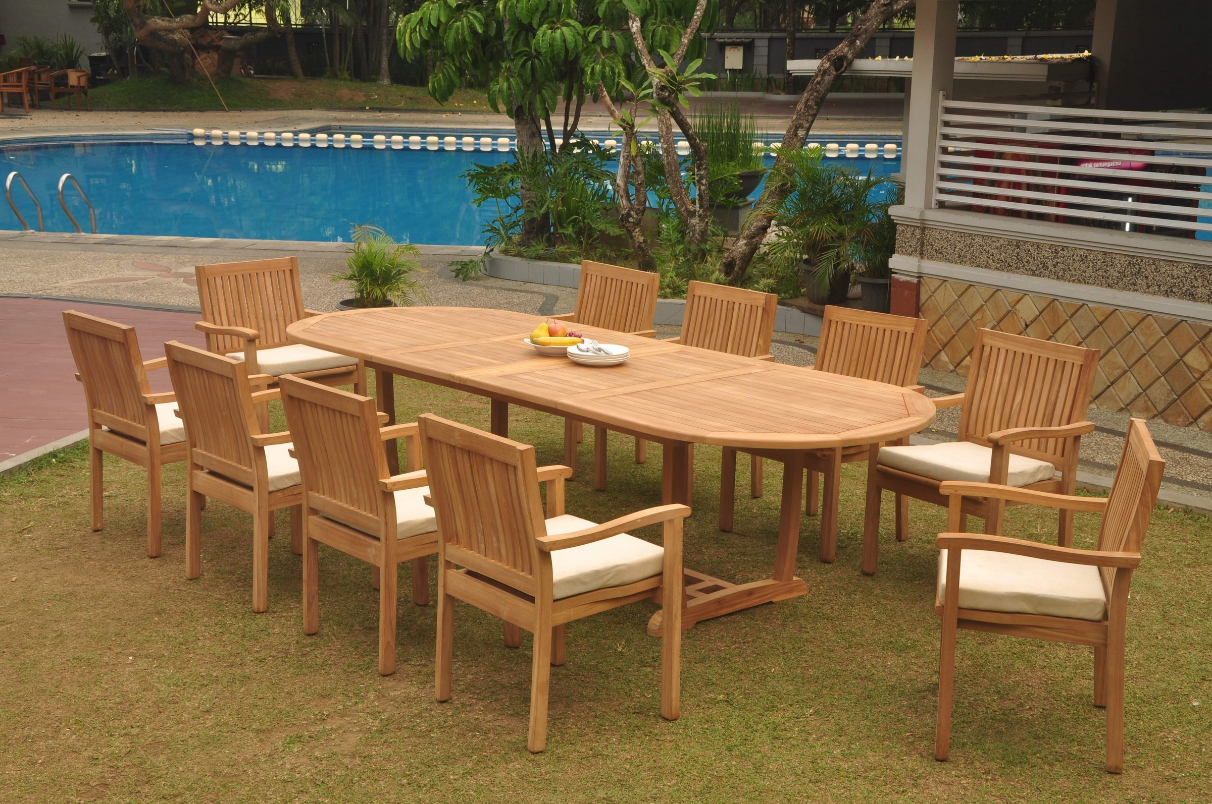 Details About Dslv A Grade Teak 11pc Dining Set 118 Mas Oval Table Stacking Arm Chair Outdoor