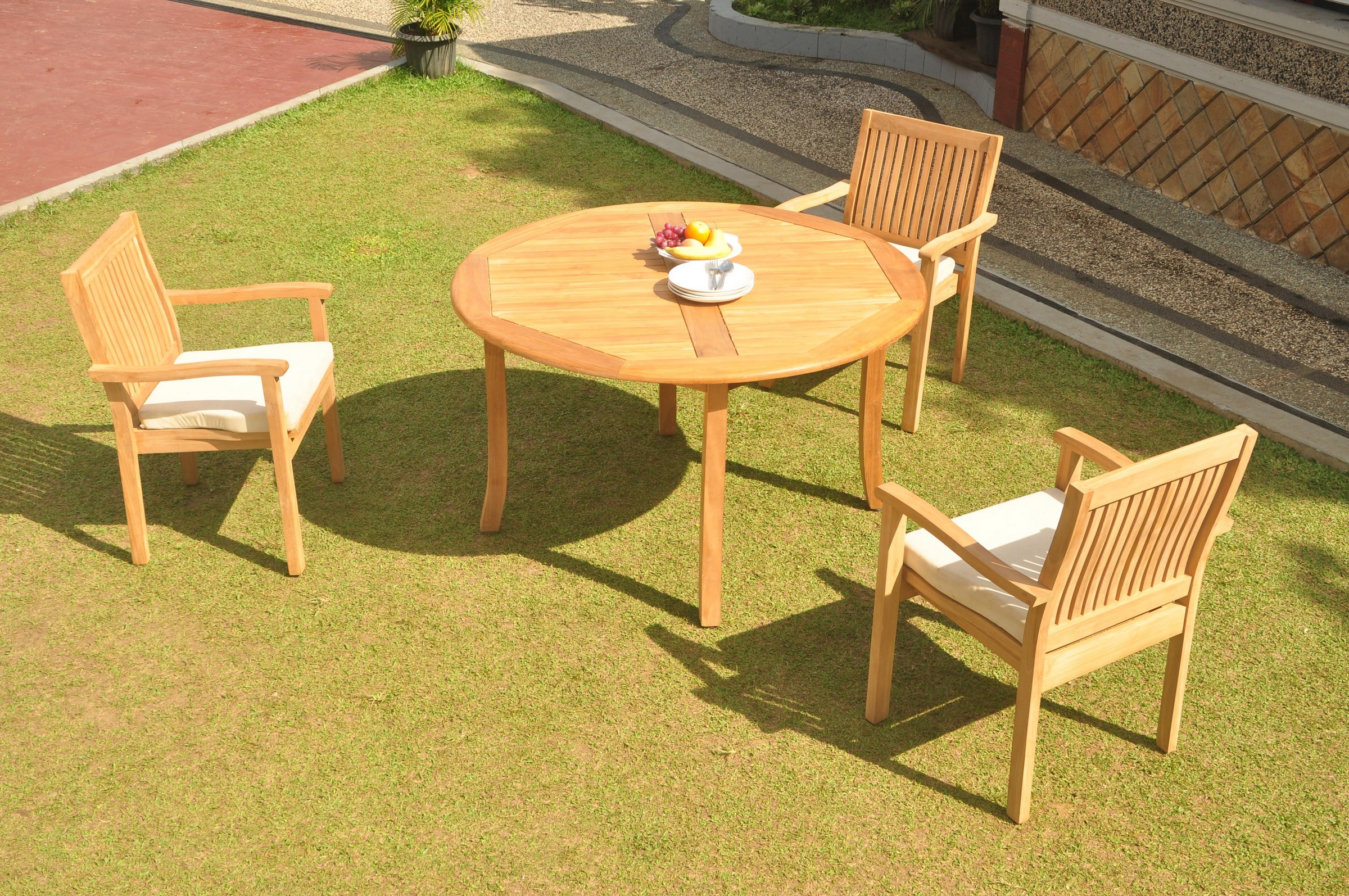 52 Round Table.Details About A Grade Teak 4pc Dining 52 Round Table 3 Leveb Stacking Arm Chair Set Outdoor
