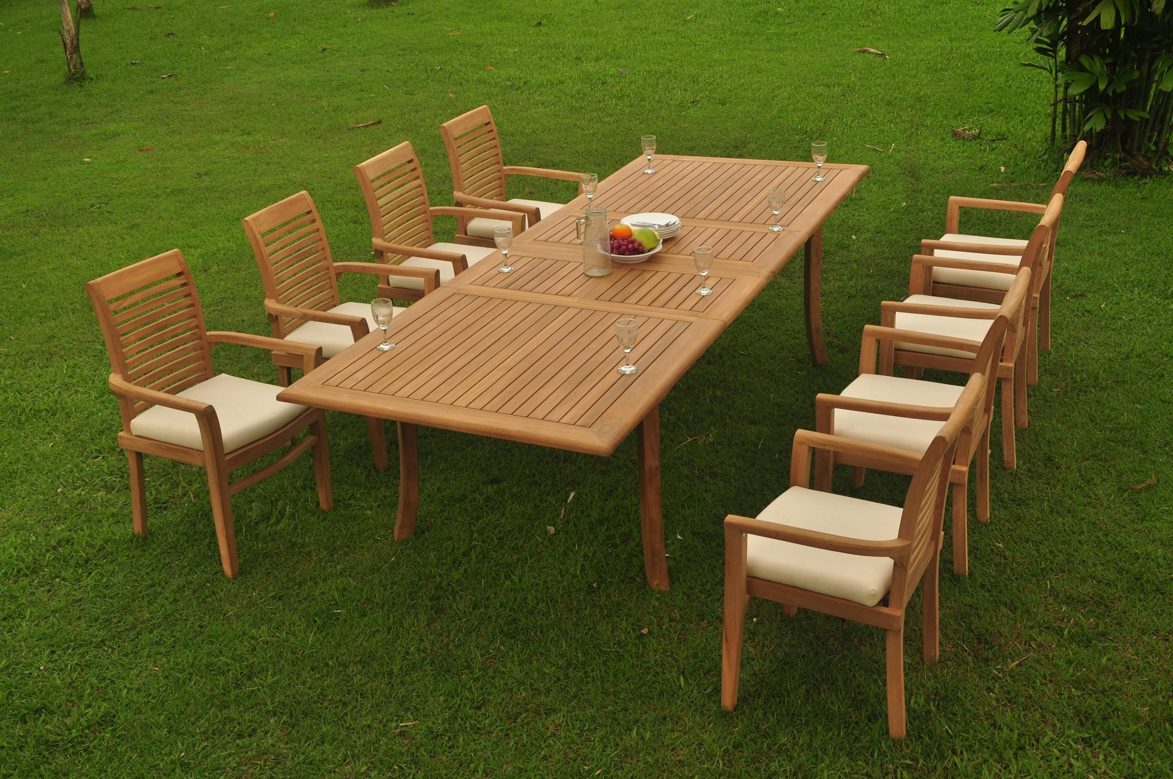 "9pc Grade-A Teak Dining Set 118"" Rectangle Table 8 Mas ..."