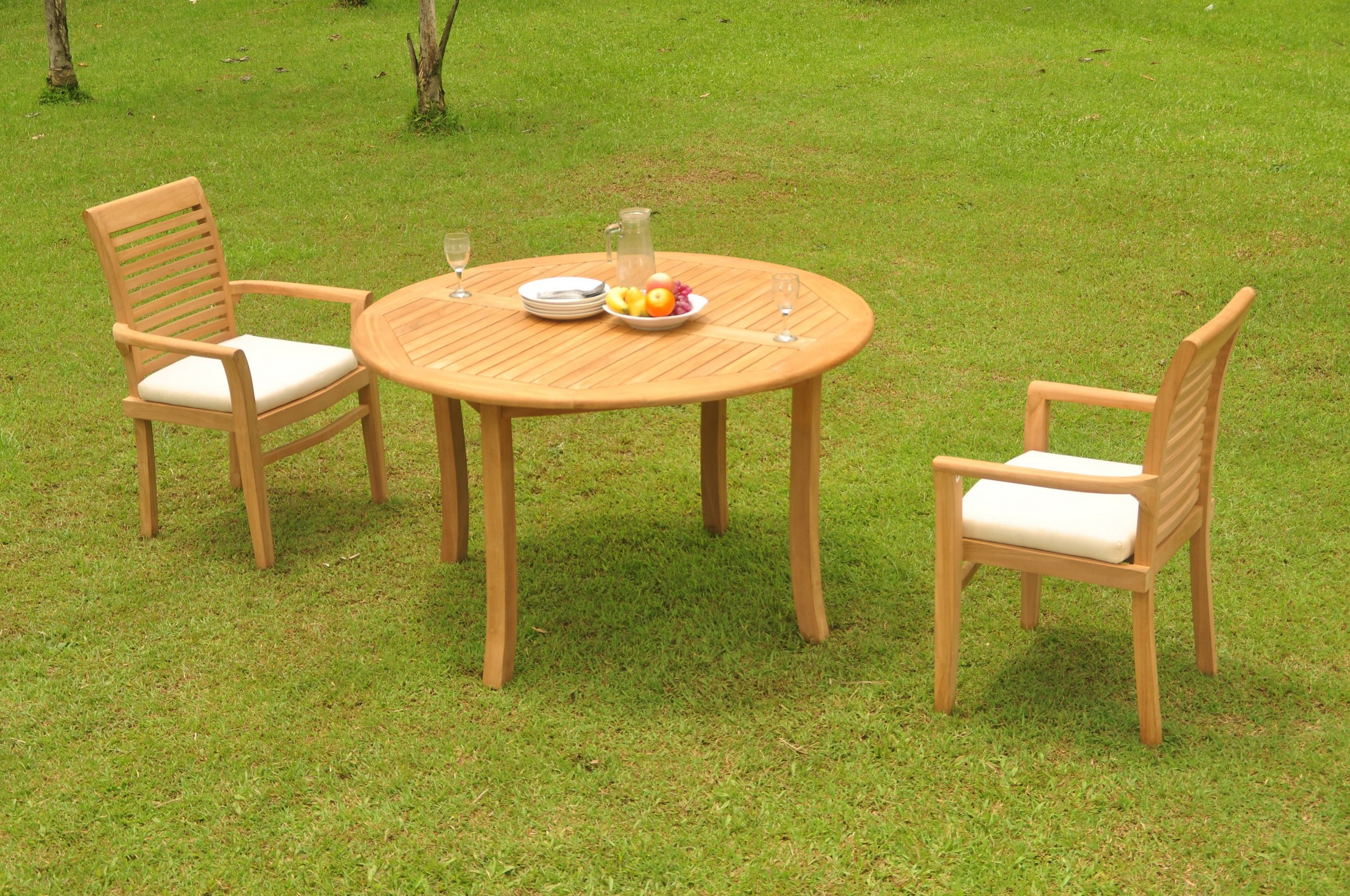 52 Round Table.Details About 3pc Grade A Teak Dining Set 52 Round Table 2 Mas Stacking Arm Chair Outdoor