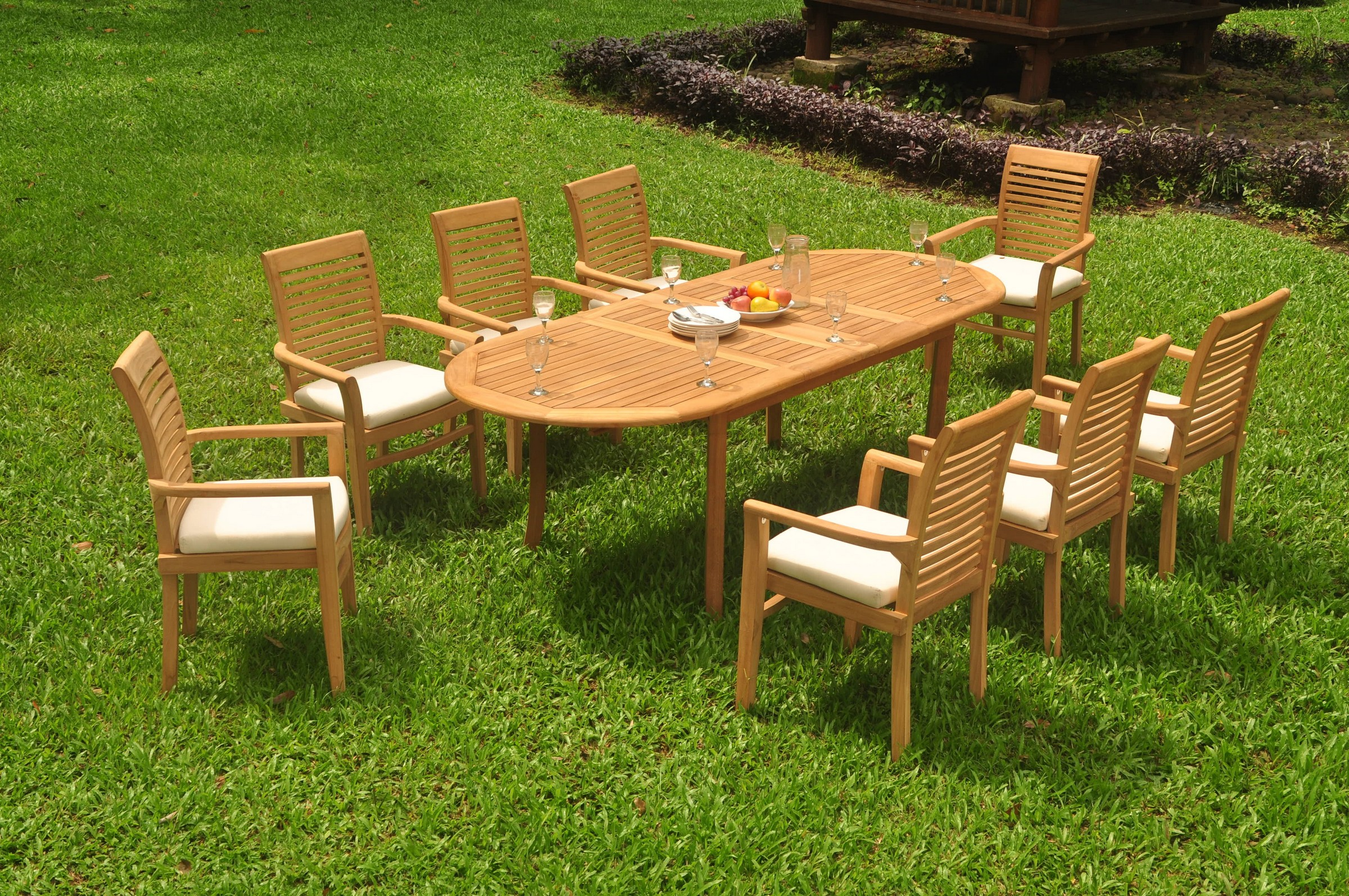 Pc GradeA Teak Dining Set Oval Table Mas Stacking Arm Chair - Oval teak outdoor dining table