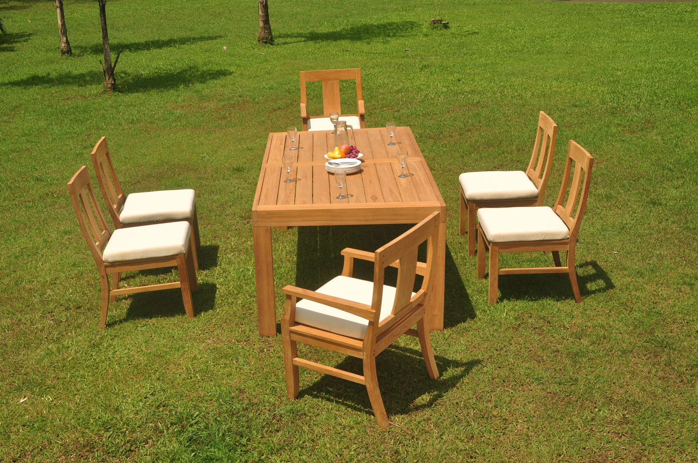 """7pc Grade-A Teak Dining Set 86"""" Canberra Rectangle Table 6"""