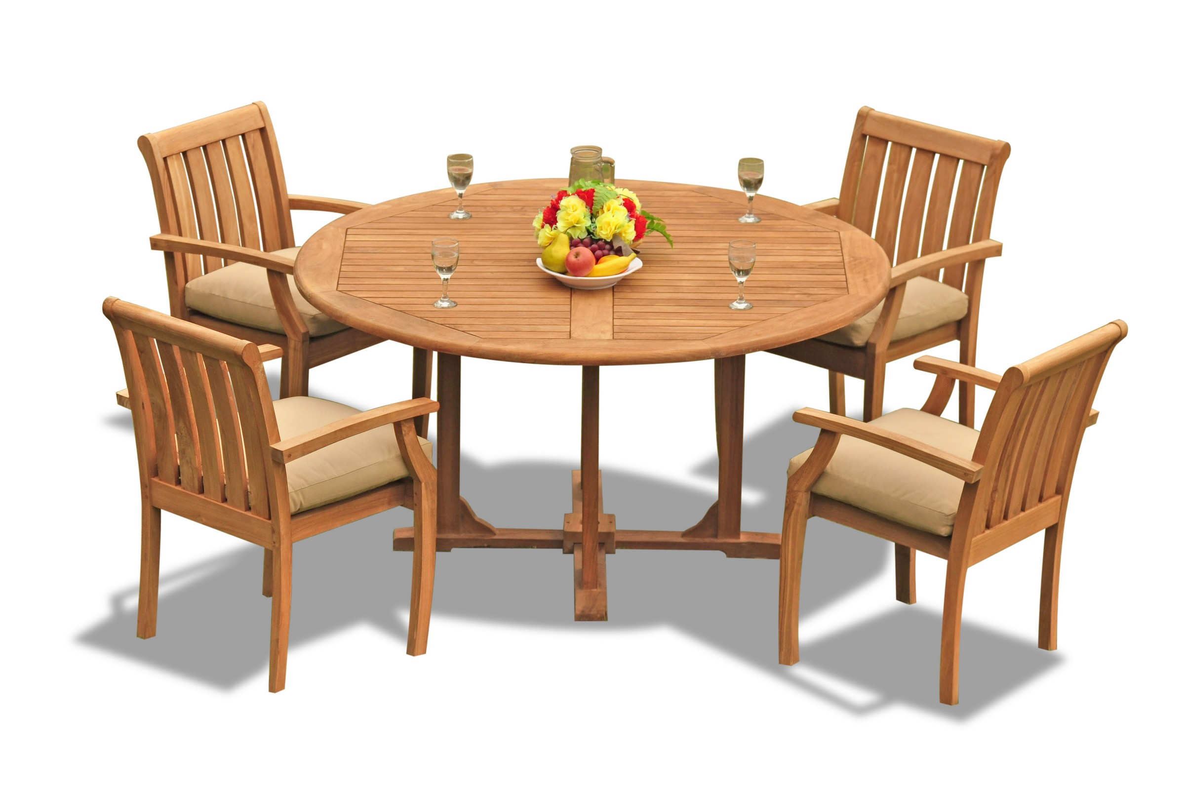 Details About A Grade Teak 5pc Dining 60 Round Table 4 Somerset Stacking Arm Chair Set Patio