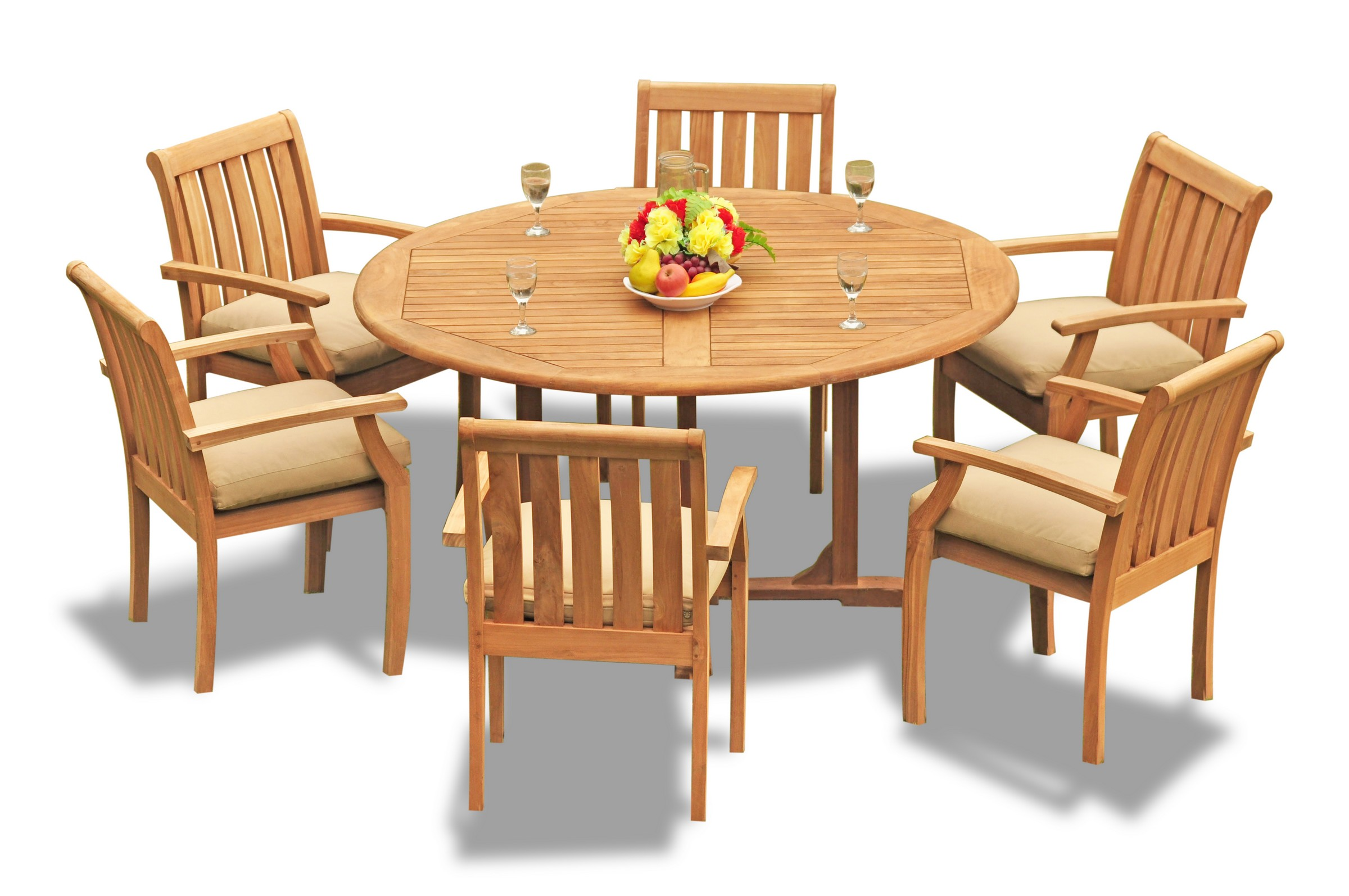 Details About 7pc Grade A Teak Dining Set 60 Round Table 6 Somerset Stacking Arm Chair Patio