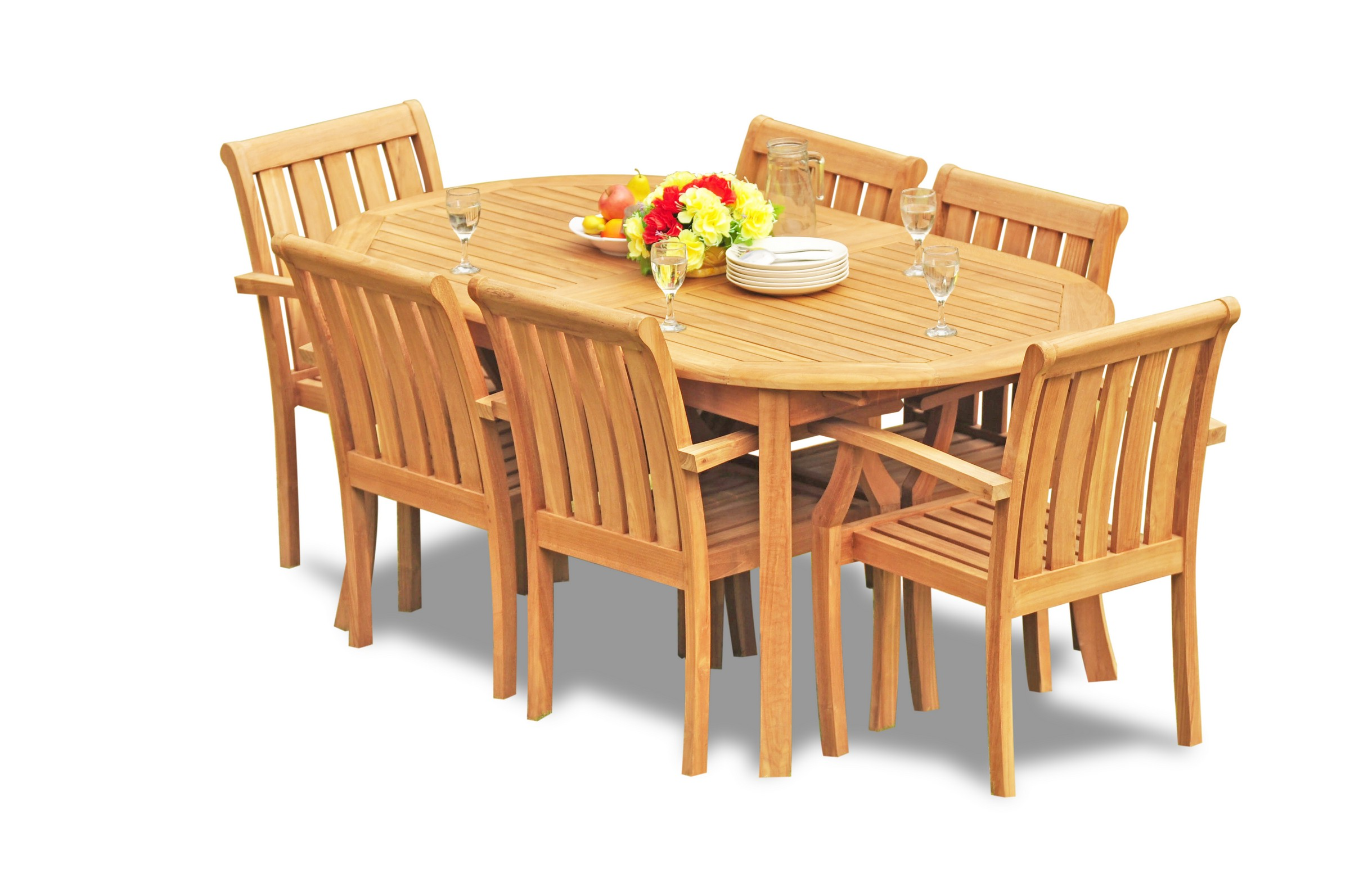 7pc Grade A Teak Dining Set 94 Oval Table 6 Somerset Stacking Arm