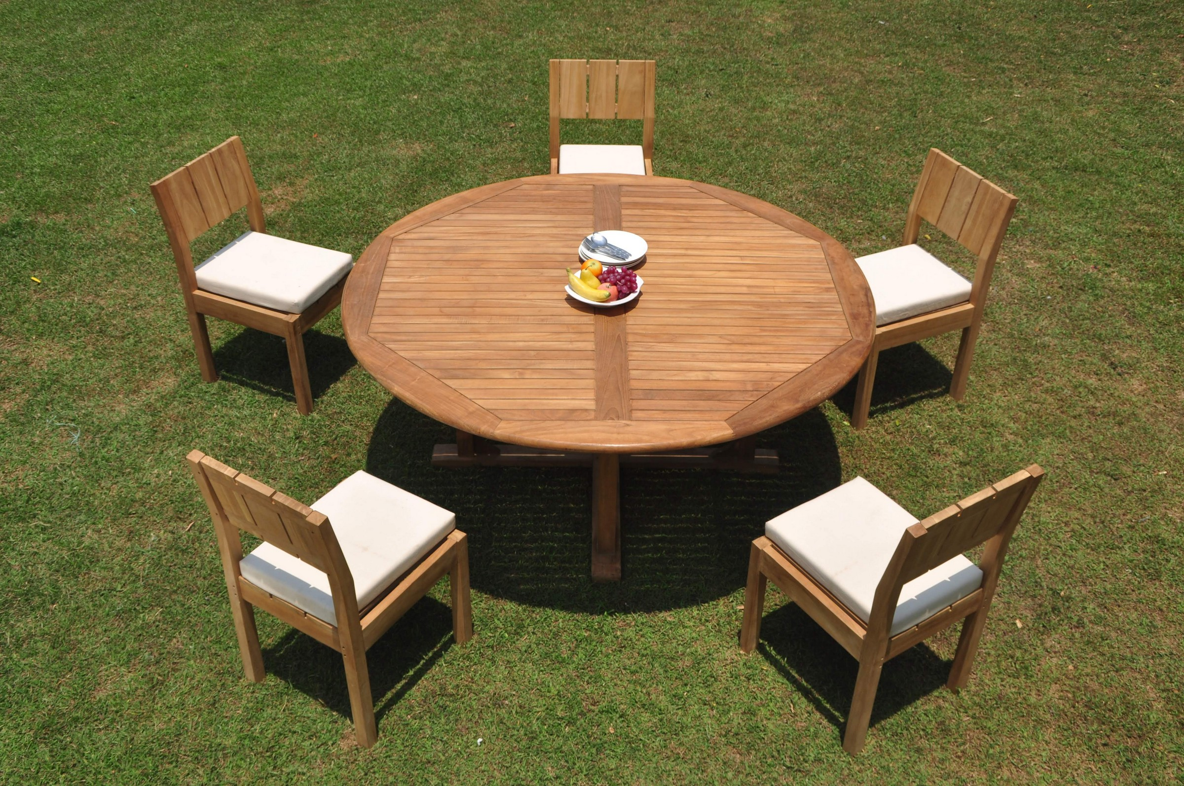 A Grade Teak 6pc Dining 72 Quot Round Table 5 Veranda Armless