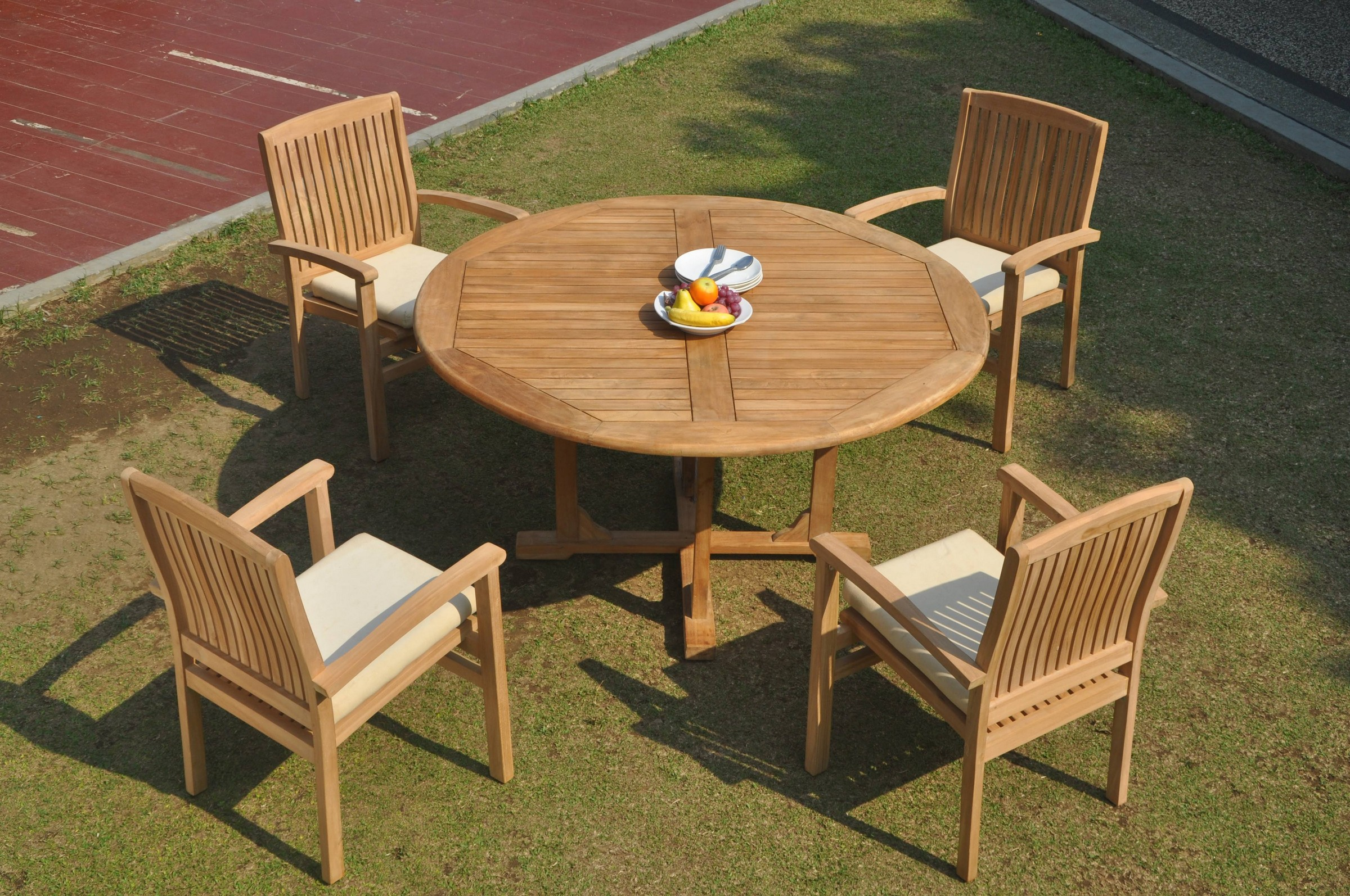 5pc Grade A Teak Dining Set 60 Round Table 4 Wave Stacking Arm Chair Outdoor Ebay